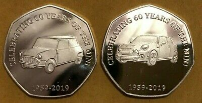 2019 50p Fifty Pence coin Celebrating 60 years of the Mini Cooper not kew garden
