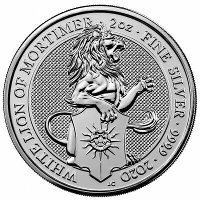 2020 Queens Beasts White Lion Of Mortimer 2oz silver coin.