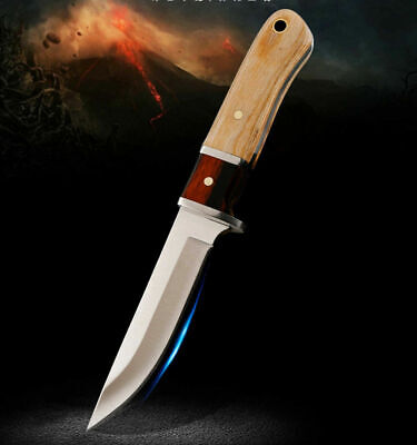 Knives Fixed Knife Steel+Wood Handle Outdoor Camping Tactical +Nylon Sheath