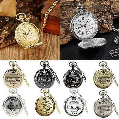 Retro Pocket Watch Open Face Quartz Numeral Roman Display for Son Grandpa Gifts