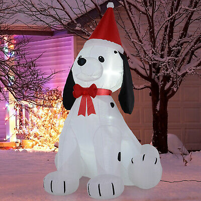6' Dog Christmas Xmas Hat Inflatable Lawn Outdoor LED Decoration Light Up