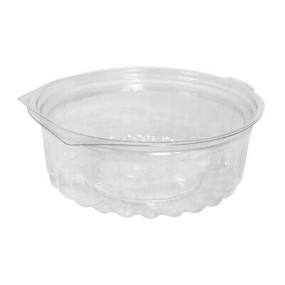 250x Show Bowl Flat Clear PET 8oz/235mL Disposable Container Takeaway Food