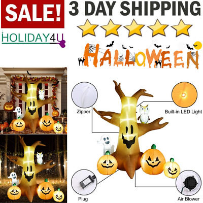 Superjare 8 Ft Halloween Inflatable Dead Tree with Ghost & Pumpkin, Blow up Deco