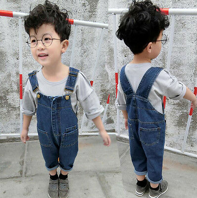 Kids Baby Girls Boys Childrens Dungarees Denim Jeans Overalls Jumpsuit Trousers