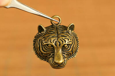 Chinese old brass hand carving tiger head statue figure pendant