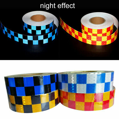 CO_ Car Truck Vehicle Traffic Safety Grid Reflective Warning Tape Sticker Dual C