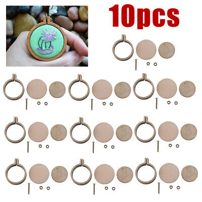 10 set Mini Embroidery Hoop Ring Wooden Cross Stitch Frame For Hand Crafts
