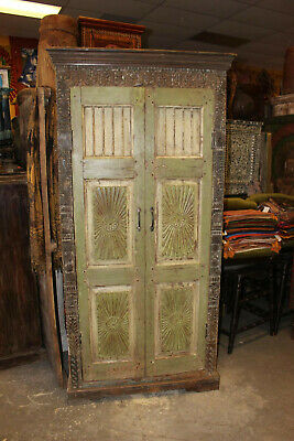 Antique Armoire RUSTIC Green CABINET SUBURST CARVED DOOR STORAGE TALL CHEST