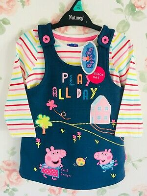 Girls Baby Toddler Peppa Pig George Denim Pinafore Dress Long Sleeve Top Set