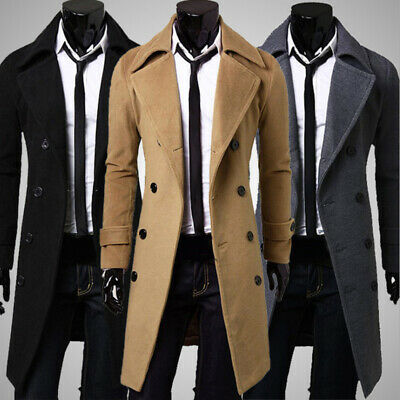 Mens Double Breasted Trench Winter Warm Coat Long Jacket Overcoat Outwear Tops