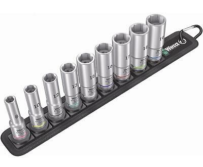 "WERA 9 Piece Deep 3/8"" Square Drive 8mm To 19mm Hex Socket Set Belt B, 004545"