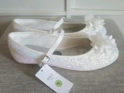 Girls White Sparkly Shoes Size 5 New M&S Party Christmas Wedding Pretty Glitter