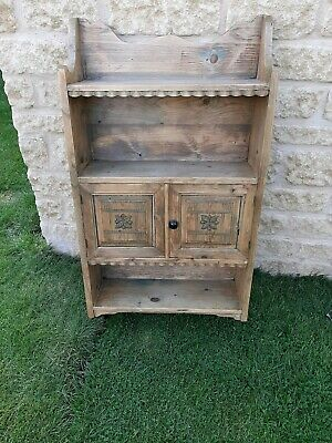 Fabulous Decorative Pine Antique hanging shelves with cupboard