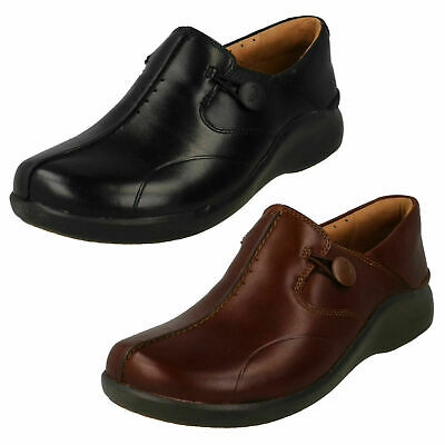Ladies Clarks 'Un Loop 2 Walk' Leather Casual Slip On Shoes - D Fitting
