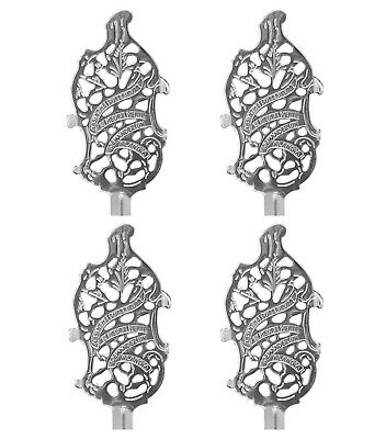 4 Authentic Wormwood Leaf Absinthe Spoons Embossed - Includes Sugar Cubes