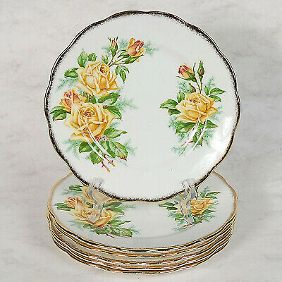 "6 Royal Albert ""Tea Rose"" Bread & Butter/Dessert Plates - 6-1/2"""