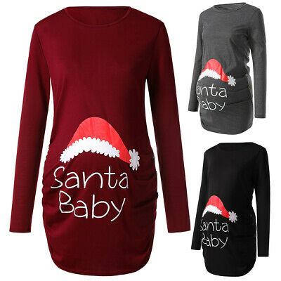 Women's Print Christmas Side Ruched Long Sleeve Maternity Top Pregnancy UK