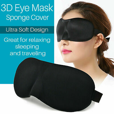 Blackout 3D EYE MASK SOFT SPONGE PADDED TRAVEL SLEEPING BLINDFOLD SLEEP AID Gift