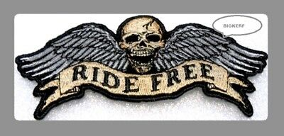 "Ride Free Skull & Wings  Biker Patch  Vest  Hat   Iron Or Sew   4 1/2"" X 2"""