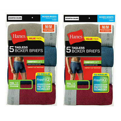 Hanes 10 Pack Men's Underwear Tagless Boxer Briefs Assorted/Solid Colors & Bands
