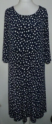 KIM & CO Printed Brazil Jersey 3/4 Sleeve Flared Dress Navy Spotted 3XL NEW
