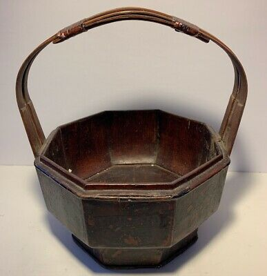 Vintage Antique Chinese Wedding Rice Wood Basket Bucket Hand Painted