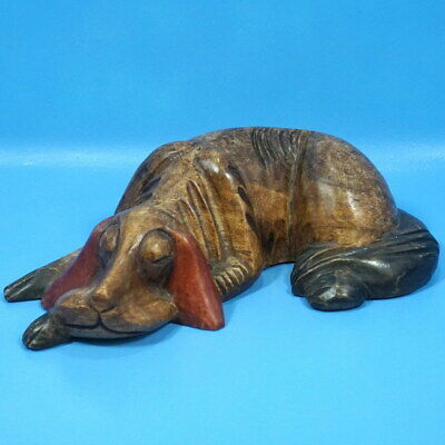 "15"" Antique German Black Forest Wood Carving SLEEPING HUNTING DOG Bloodhound?"