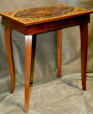 Vintage Italian Inlaid Marquetry Wood Musical Jewelry Sewing Box Table