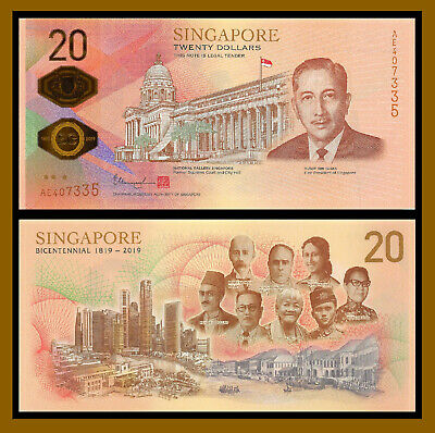 Singapore 20 Dollars, 2019 P-New Bicentennial Commemorative Polymer Uncirculated
