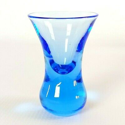 Vintage Depression Glass Cobalt Blue Tulip Weighted Bottom Collector Shot Glass