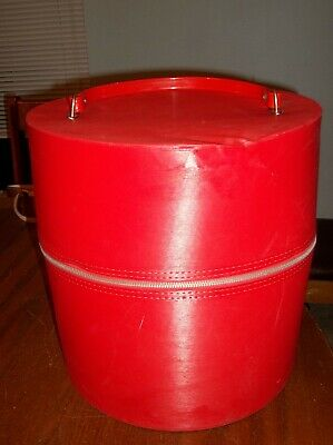 "Vintage Zippered Wig Hat Carrier With Handle Hat Box Red Vinyl 14"" High"