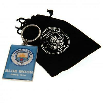 Manchester Man City Fc Executive Key Ring Keyring & Luxury Black Pouch