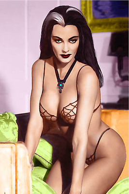 Lily Munster Pin Up 4X6 Refrigerator Fridge Magnet Man Cave Decor SIGN Photo Bar