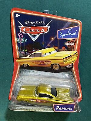 Disney Pixar CARS Supercharged Ramone Die Cast Toy Car Yellow W/ Flames Mattel