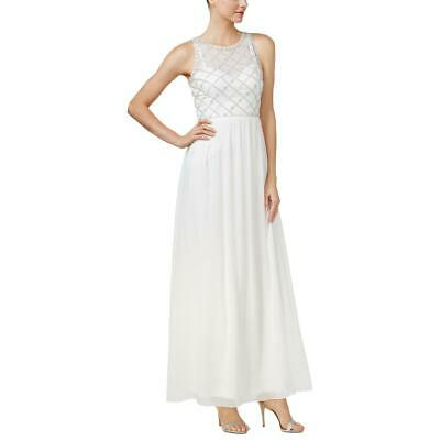 Adrianna Papell Womens Ivory Sleeveless Beaded Party Dress 12 BHFO 6596