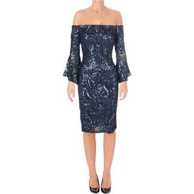 Betsy & Adam Womens Navy Off The Shoulder Bell Sleeve Party Dress 10 BHFO 3936