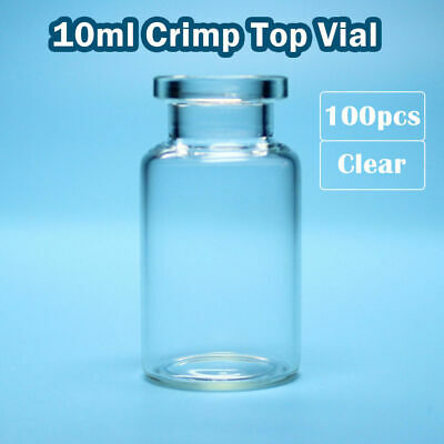 100pcs 10ml Clear Glass Bevelled Sample Vial Flat Bottom 20mm Crimp Top HPLC GC