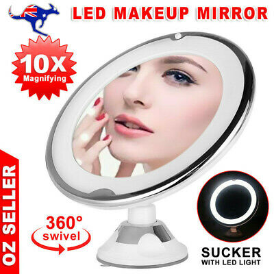 10x Magnifying Makeup Vanity Cosmetic Beauty Bathroom Mirror with LED Light uS