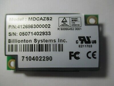 Billionton Model MDCAZS2 P/N: 41268600002  Modem Card