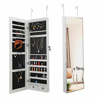 White Wall Door Mounted Jewelry Mirror Cabinet Lockable Armoire Organizer LED