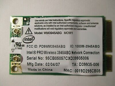 Intel  WM3945ABG MOW1  Pro/Wireless 3945 ABG Mini PCI-E Wireless Card