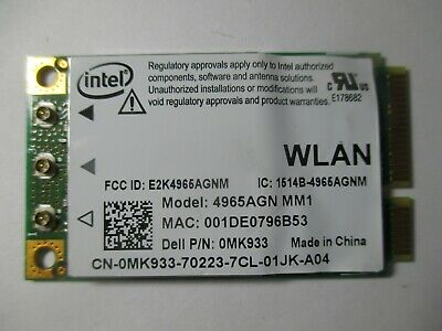 Intel  4965AGN MM1 Dell P/N OMK933  Mini AGN PCI-E Wireless Card