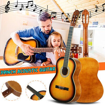 39'' Classical Acoustic Guitar Package Outfit Full Size Beginner Adult XMAS