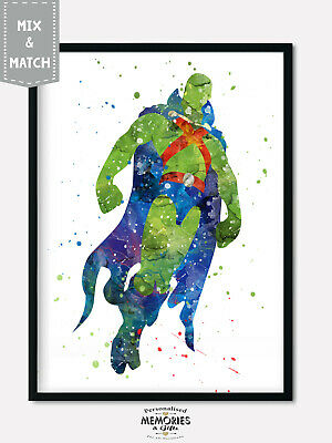 Martian Manhunter- Superheroes & Villains Watercolour Wall Print -  A4 A3 A2