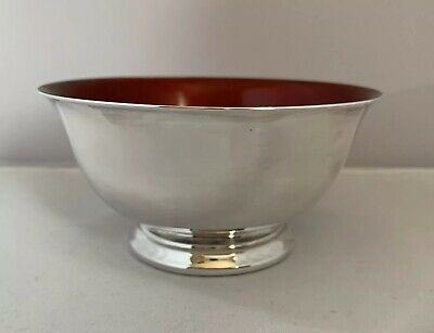 Vintage Reed & Barton Silver Plate & Enamel Bowl 101 Paul Revere Red Colour
