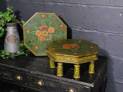 A Good Pair Of Vintage Eastern Hand Painted Stools Stands Or Low Tables