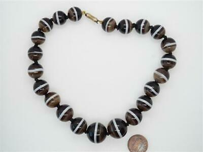 ANTIQUE VICTORIAN BANDED AGATE STRING BEAD CHOKER / SHORT NECKLACE c1880