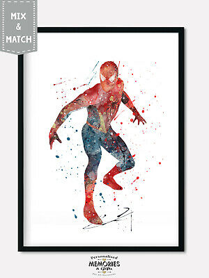 Spiderman 1 Superhero & Villains Watercolour Wall Print -  A4 A3 A2