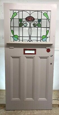 Xl Edwardian Stained Glass Front Door Wood Reclaimed Old Period Antique Leaded