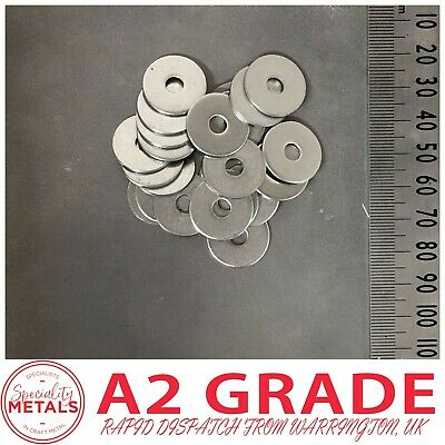 M5 (5mm)  x 20mm Penny Repair Washers Mudguard Washer A2 Stainless Steel